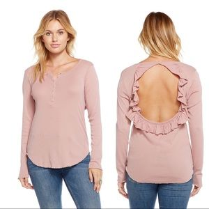 Chaser Ribbed Long Sleeve Ruffle Vent Back Henley
